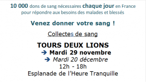 Don du sang à l'Heure Tranquille @ Esplanade de l'Heure Tranquille | Tours | Centre-Val de Loire | France